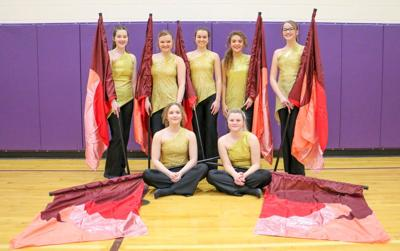 Winter Color Guard was the halftime highlight at the Boys Basketball last regular season home game February 26, 2021. Winter Color Guard participants: Trichelle White, Karissa Osterkamp, Jill Hofer, Gracie Olivier, Adrian Gruis, Adeline Forgey, and Trinity Kenzy