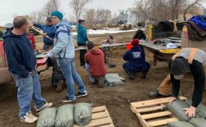 Blunt firefighters filled 500 sandbags Monday night in preparation for potential flooding from spring runoff.