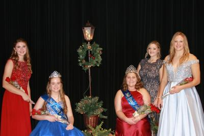 Junior Snow Queen Runner-Up Lydia Hill and Junior Snow Queen Caitlin Birney; 2020 Snow Queen Brianna Fanger, Miss Congeniality Gabby McQuirk, and Snow Queen Runner-Up Angela Guthmiller.