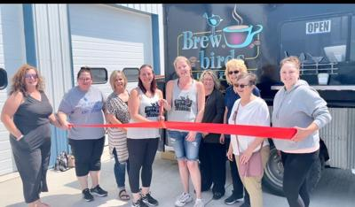 The Onida Chamber of Commerce inducted Brewbirds into the business community with a ribbon cutting ceremony. Chamber members Moriah Gross, Silver City Symphony; Sarah Ramler, Onida Electric; Kim Wickum, Crazy B's Tees and More; Brewbirds' Jen Soderholm and Holly Miles; Brenda Currier, BankWest; Trish Severson, Sunrise Bank; Marileen Tilberg, Onida Area Development Corporation; and Chamber President Jen Falkenhagen, Brewster's Tavern and Grill were on hand for the festivities.