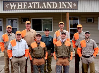 A party of hunters from southeastern Ohio have made traveling to South Dakota for the pheasant opener a family and friends tradition. Pictured in front are Mark Bober, Greg Dickson, Alex Wesel, and Joe Wesel III, and in back, Andrew Wesel, Hal Payne, Bob Dickson, David Wesel, and Joe Wesel II