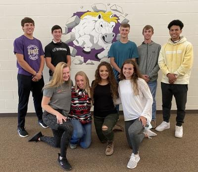 SULLY BUTTES 2020 HOMECOMING COURT. The Sully Buttes student body will choose from among the candidates pictured above who will reign as Empress and Emperor over the 'apps' themed 2020 Olympian Days. Candidates are: Rafe Wientjes, Garrett Petersen, Zach Farries, Landon Severson, and Sedric Perkins (Escort); and Karissa Osterkamp, Gracie Dimmit, Gracie Olivier, and Jill Hofer. Coronation kicks off homecoming week on Monday, September 28 at 7:30 p.m.  Refer to Watchdog student newspaper on page 5 for additional information regarding homecoming activities.