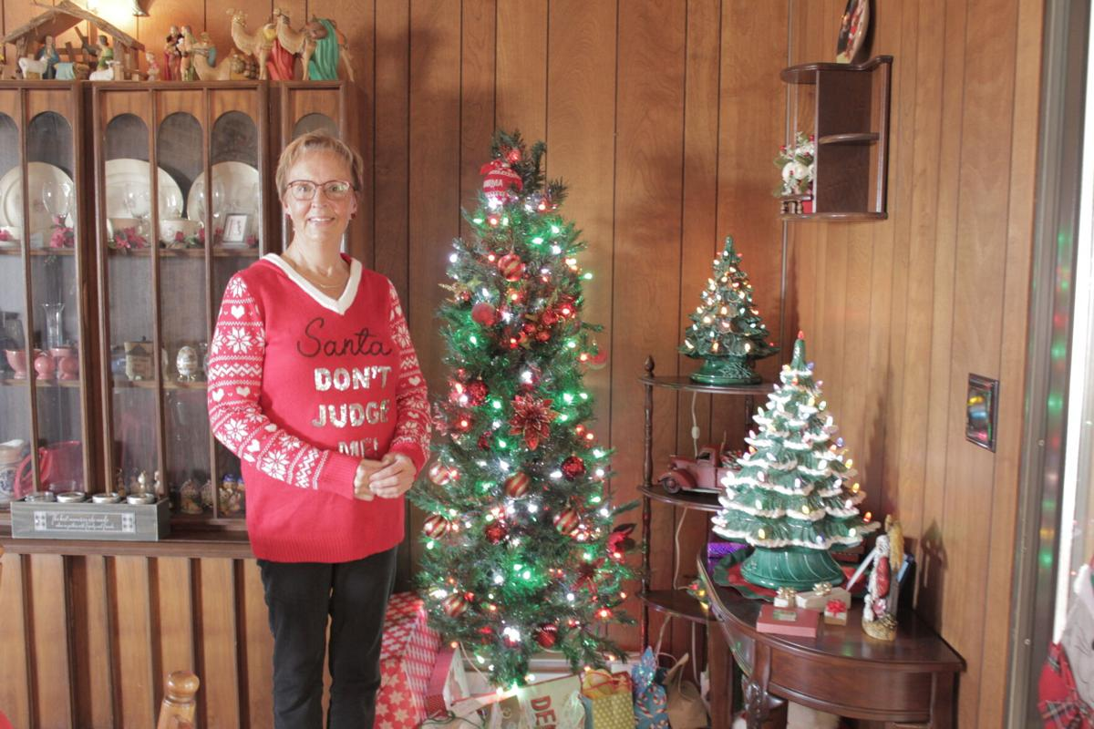 Ceramic Christmas trees are on display throughout Julene Yackley's home.