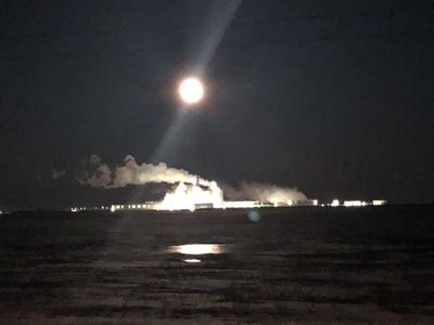 Mark Merchen took this photo last week of the full moon, also known as Snow Moon, over Ringneck Energy. The steam from the ethanol plant looked especially dense on that cold night.