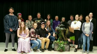 Sully Buttes One Act Play Cast and Crew. Front: Taryn Kenzy, Aspen Heath, Kenean Johnson, Lydia Hill, Kari-Anne Lyons, and Mily Vasquez.  Back: Blaine Duffel, Adrian Gruis, Adeline Forgey, Saige Heath, Harper Goble, crew members Addison Chicoine and Trinity Kenzy, Sydney Vincent, Adrianna Osterkamp, and Natalie Miles.