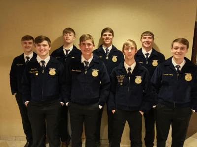 Zach Farries, Blaine Hill, Teagan Jost, Reese Voorhees, Rafe Wientjes, Landon Severson, Jesse Schall, and Payton Peery were all in attendance at the State FFA Convention.