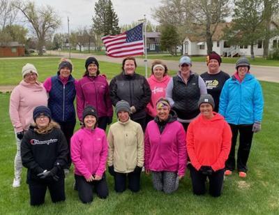 Members of the Kellie Kicked Cancer team who walked last Saturday: Back - Kristen Kinney, Lexie Rausch, Peggy Barber, LaJena Gruis, Mary Jo Stier, Moriah Gross, Lynn Senftner, Sarah Severson; Front: Scotlyn Kinney, Kim Sutton, Karen LaFurge, Kellie Yackley, and Tina LaRosh. In addition to the Onida contingent, the Kellie Kicked Cancer team hailed from Texas, Maryland, Pennsylvania, Ohio, and South Dakota.