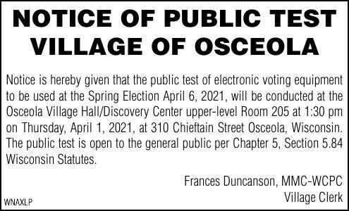Notice of Public Test