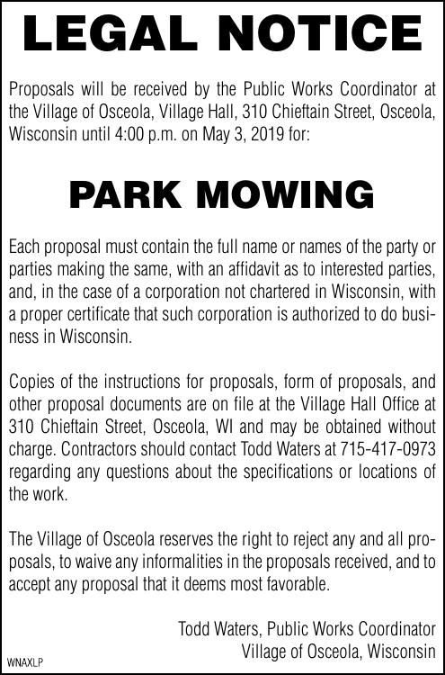 Legal Notice - Park Mowing
