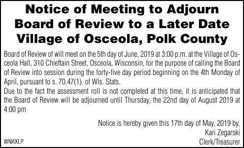 Notice of Meeting to Adjourn