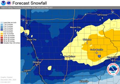 NWS Tuesday snowfall graphic
