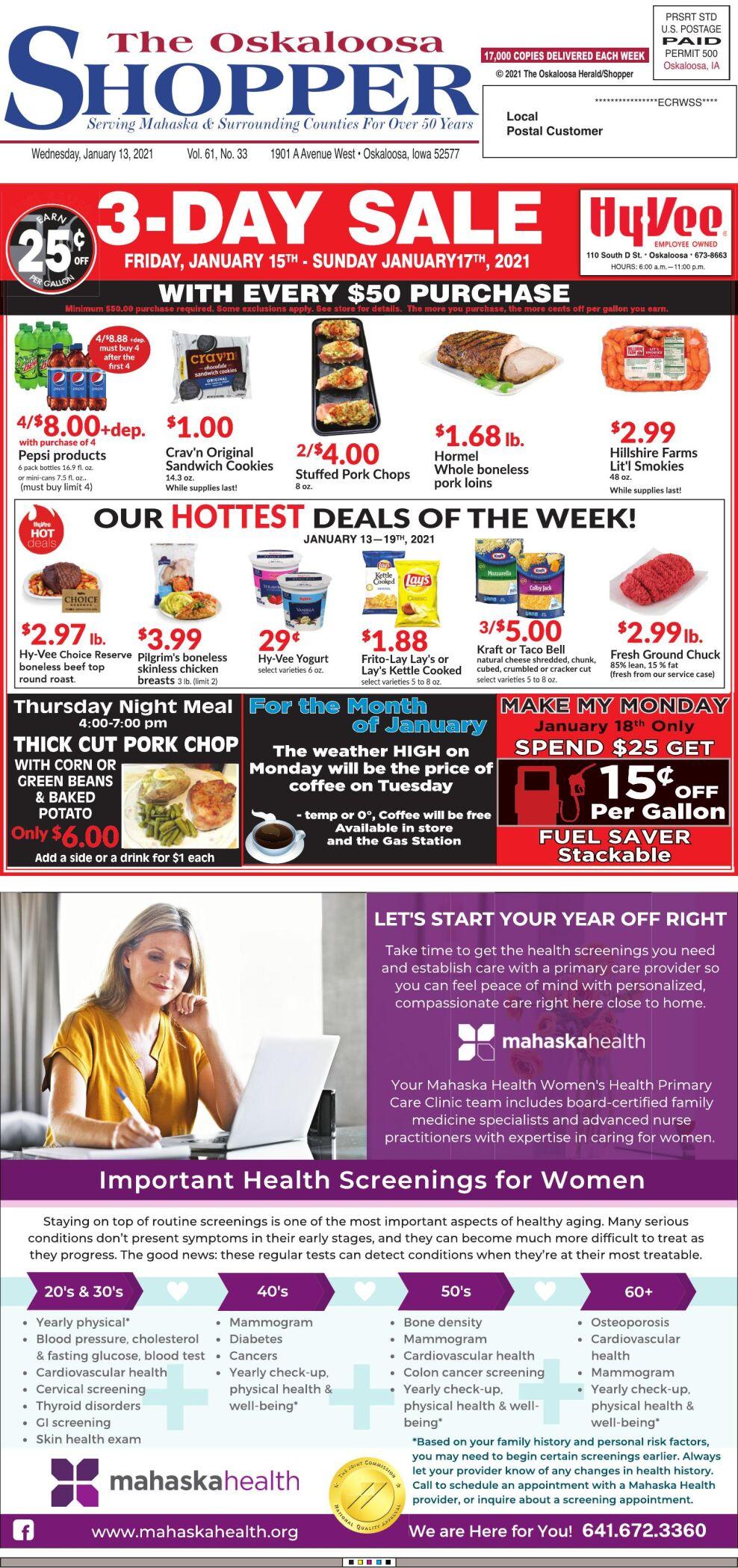 Oskaloosa Shopper week of 1/13/21
