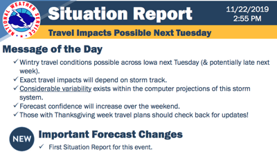 NWS possible travel impacts