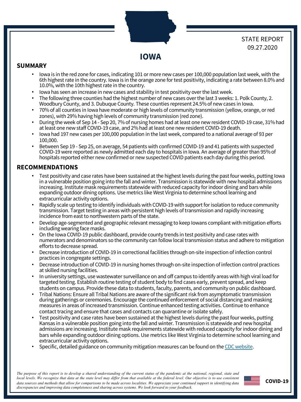 White House Coronavirus Task Force - Iowa Report (9/27/20)