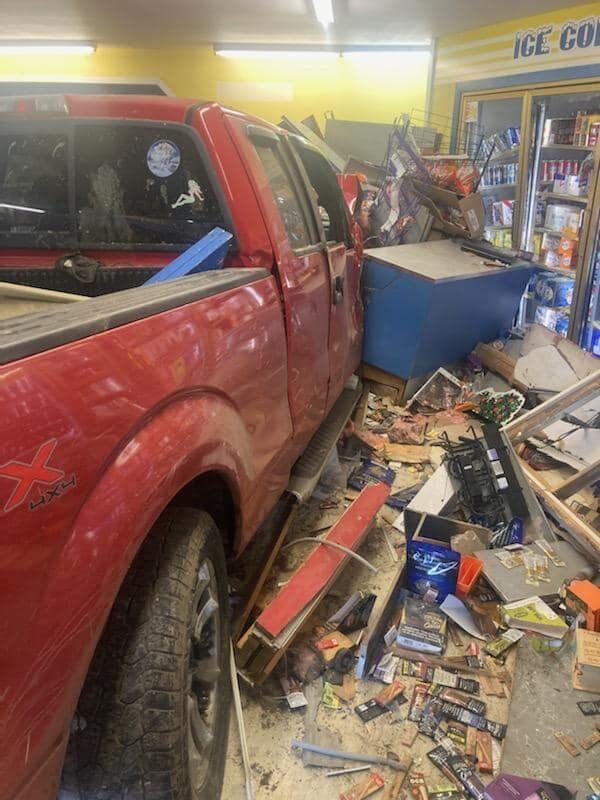 State police: woman crashes into Pulaski gas station