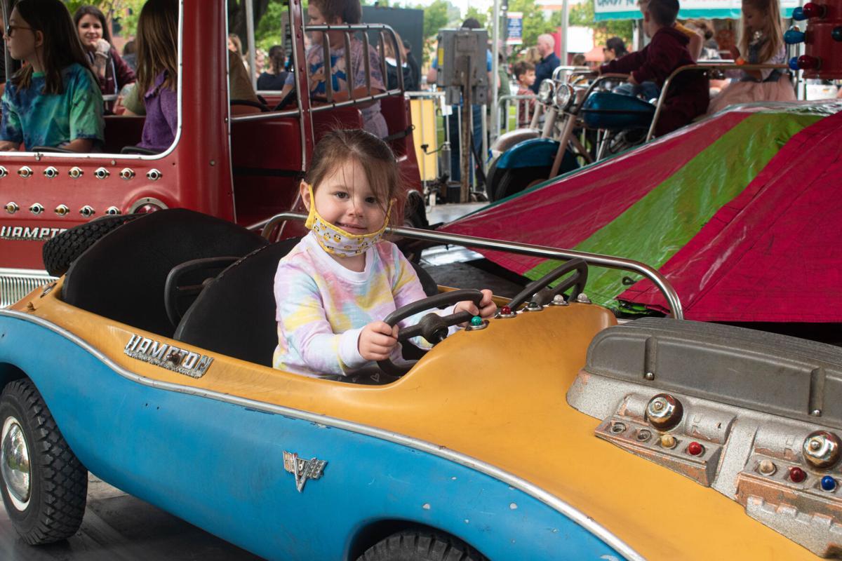 Helen Sterling enjoys an amusement ride.