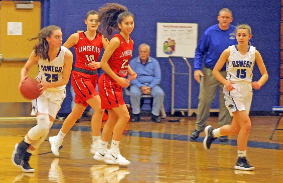 Jamesville-DeWitt defeats Oswego girls varsity basketball