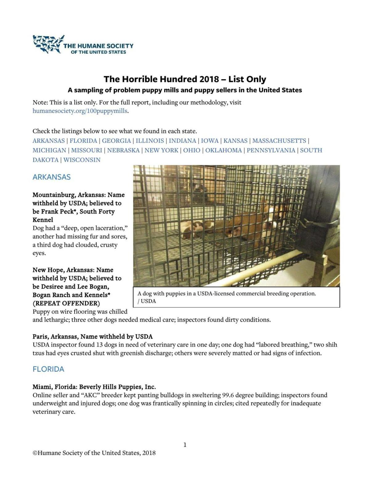 Horrible Hundred' list includes southeast Iowa animal