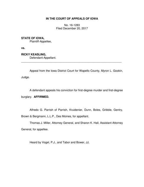 Keasling Loses Murder Appeal News Ottumwacourier