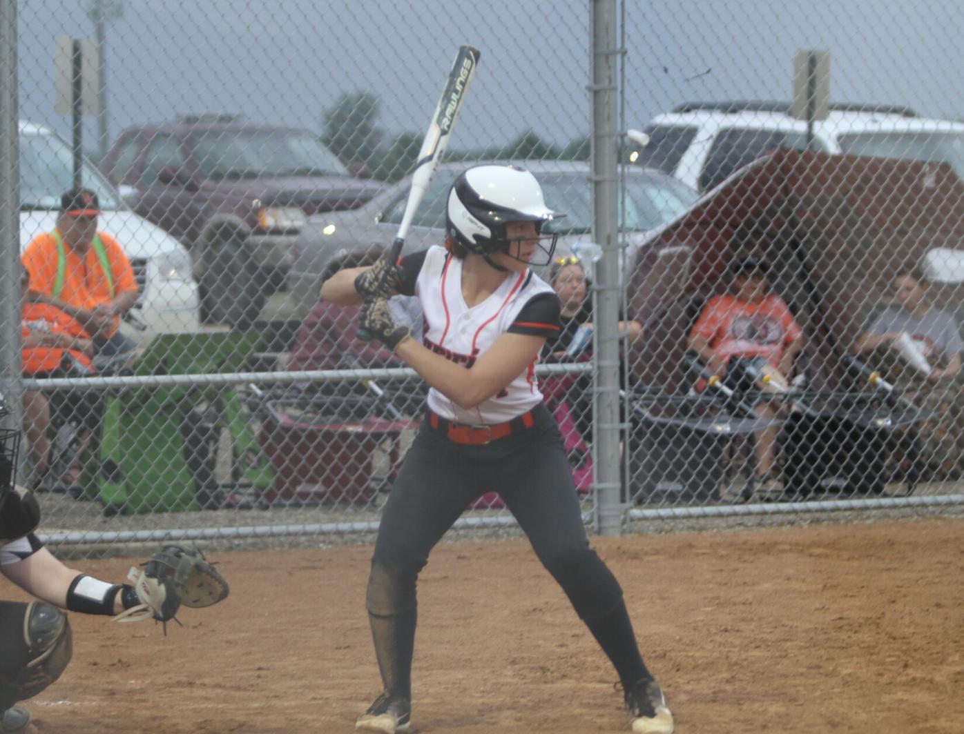 Isabel manning at bat vs Pekin