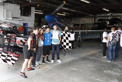 Students meet a stunt pilot