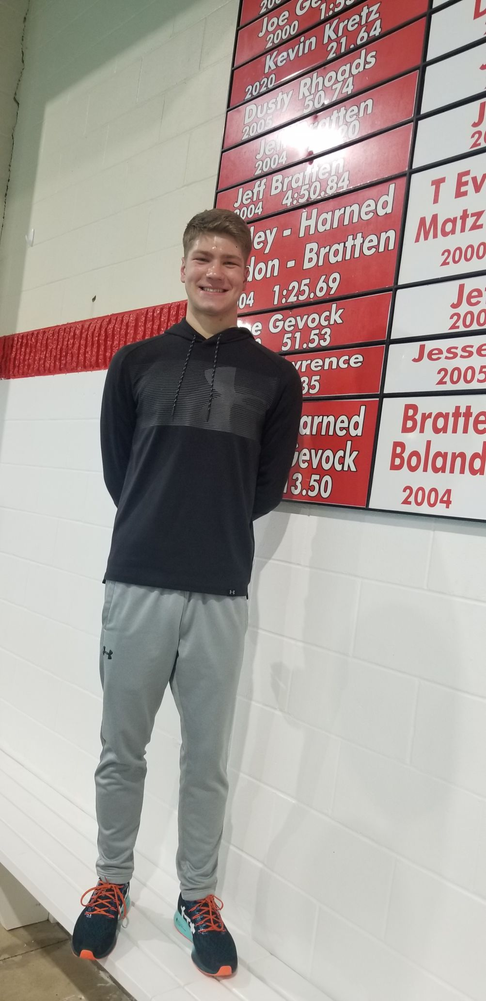Kretz puts name on OHS swimming record board