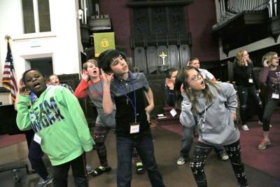 Children practice choreography