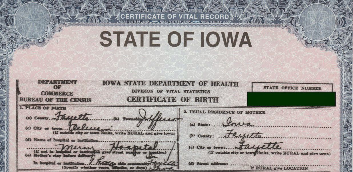 birth certificate for iowa resident