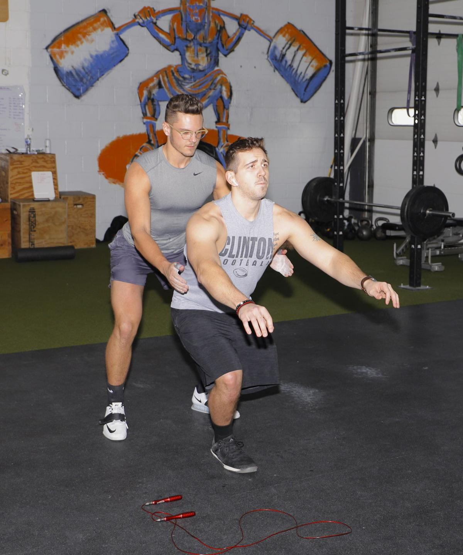 Kyle Huebner, owner of KT3 Fitness, with Josh Hill