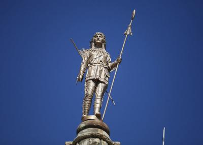 "Wapello County's ""Chief Wapello"" above the courthouse"