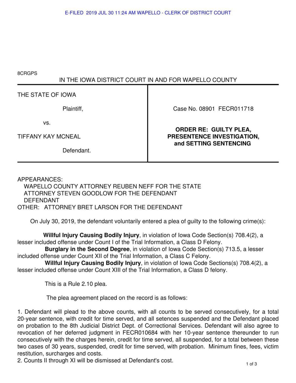 Plea, sentencing order