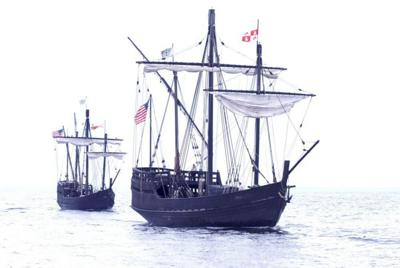 Replicas of Columbus' ships pulling in at Green Turtle Bay