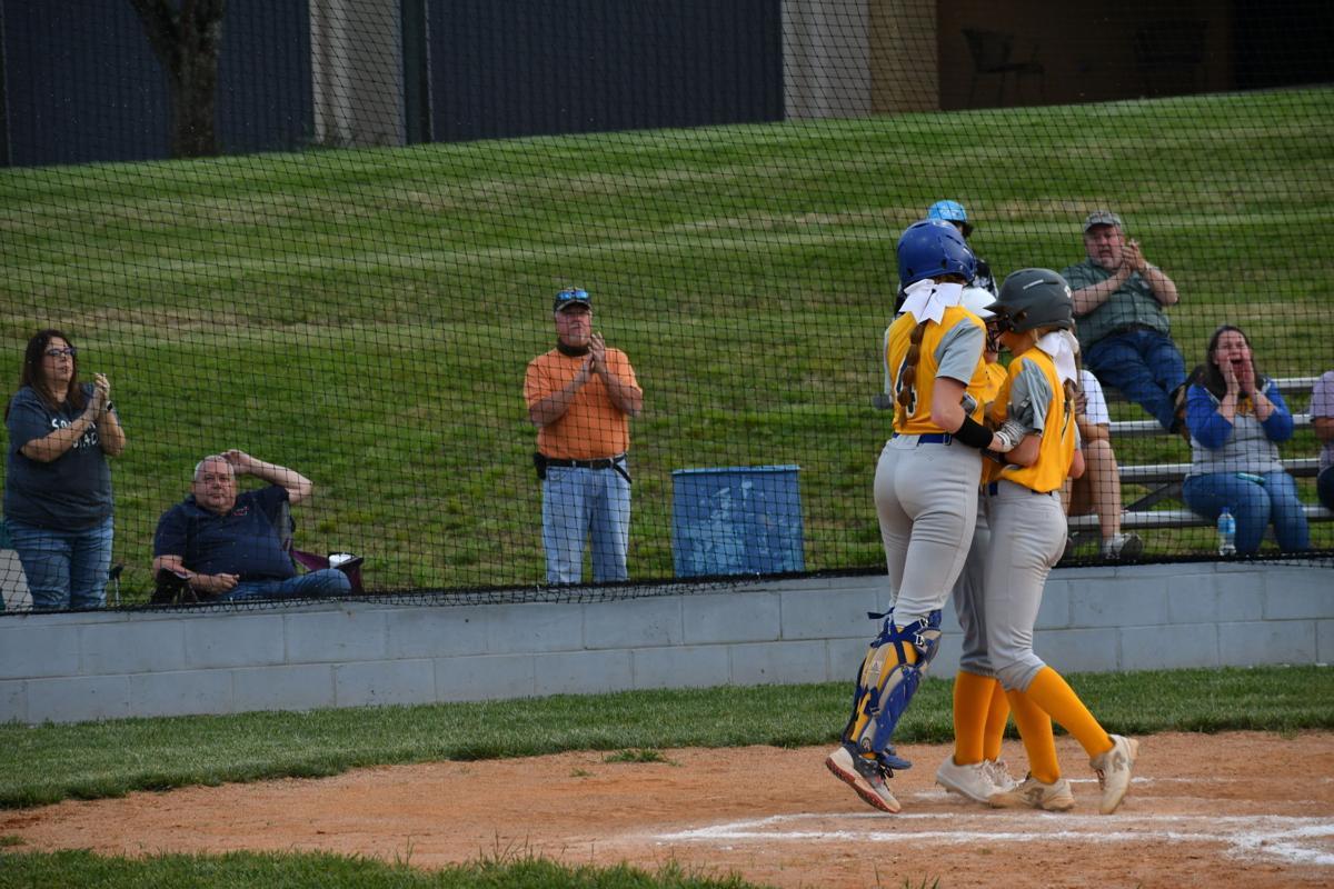 Lady Viking celebration after Burrus hits a two-run homer
