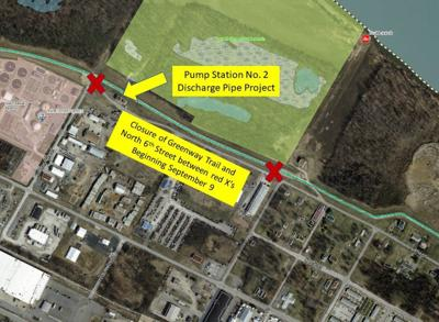 Pump Station project to close section of Greenway Trail, North Sixth Street