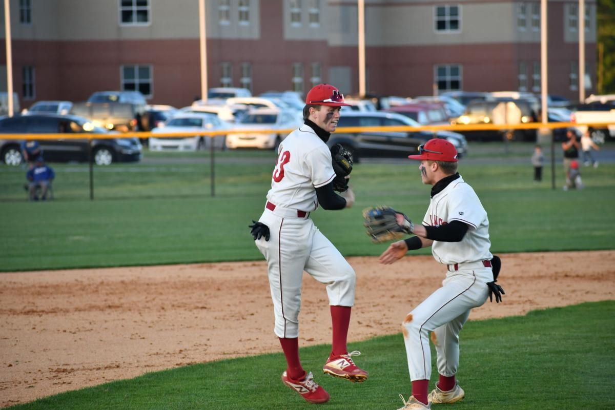 Rivers Moffatt and Dylan Riley celebrate double play