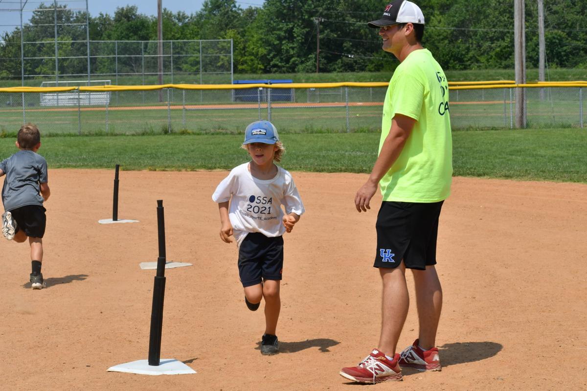 Kalen Parker teaches base running