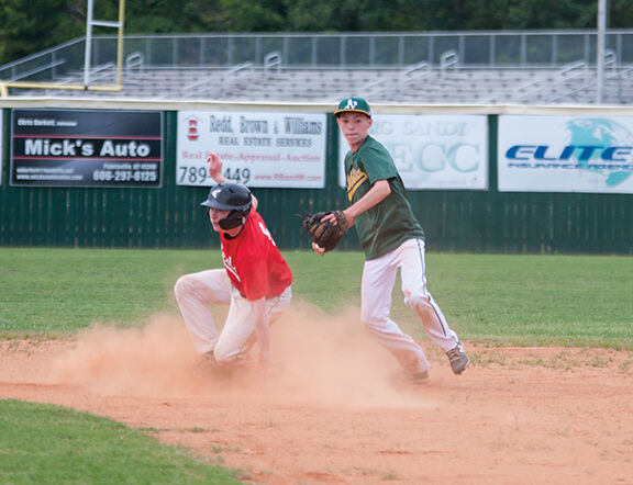The Athletics Brock Horne makes a throw to first in a double play attempt .jpg