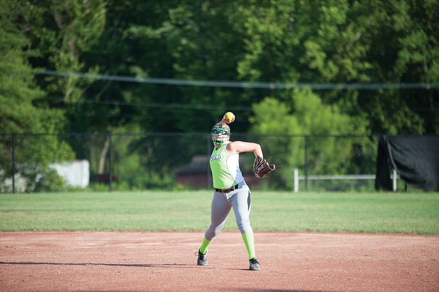 The Krushers Josie Dials makes a throw from shortstop to first base in action against the Young Guns.jpg