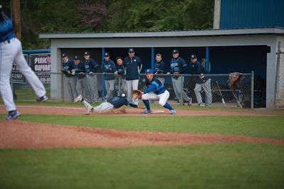 4-27 paint Griffin Collins preps to make a tag on a pick off move from Porter.jpg