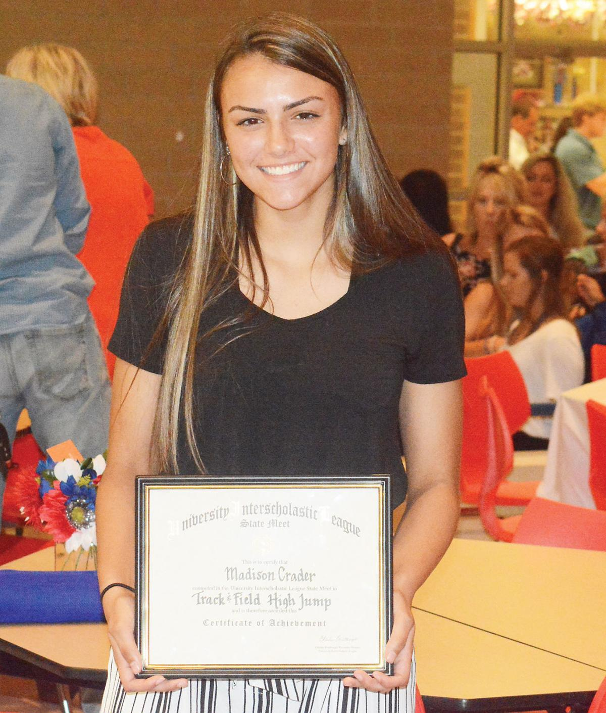 Madison Crader shows off state certificate