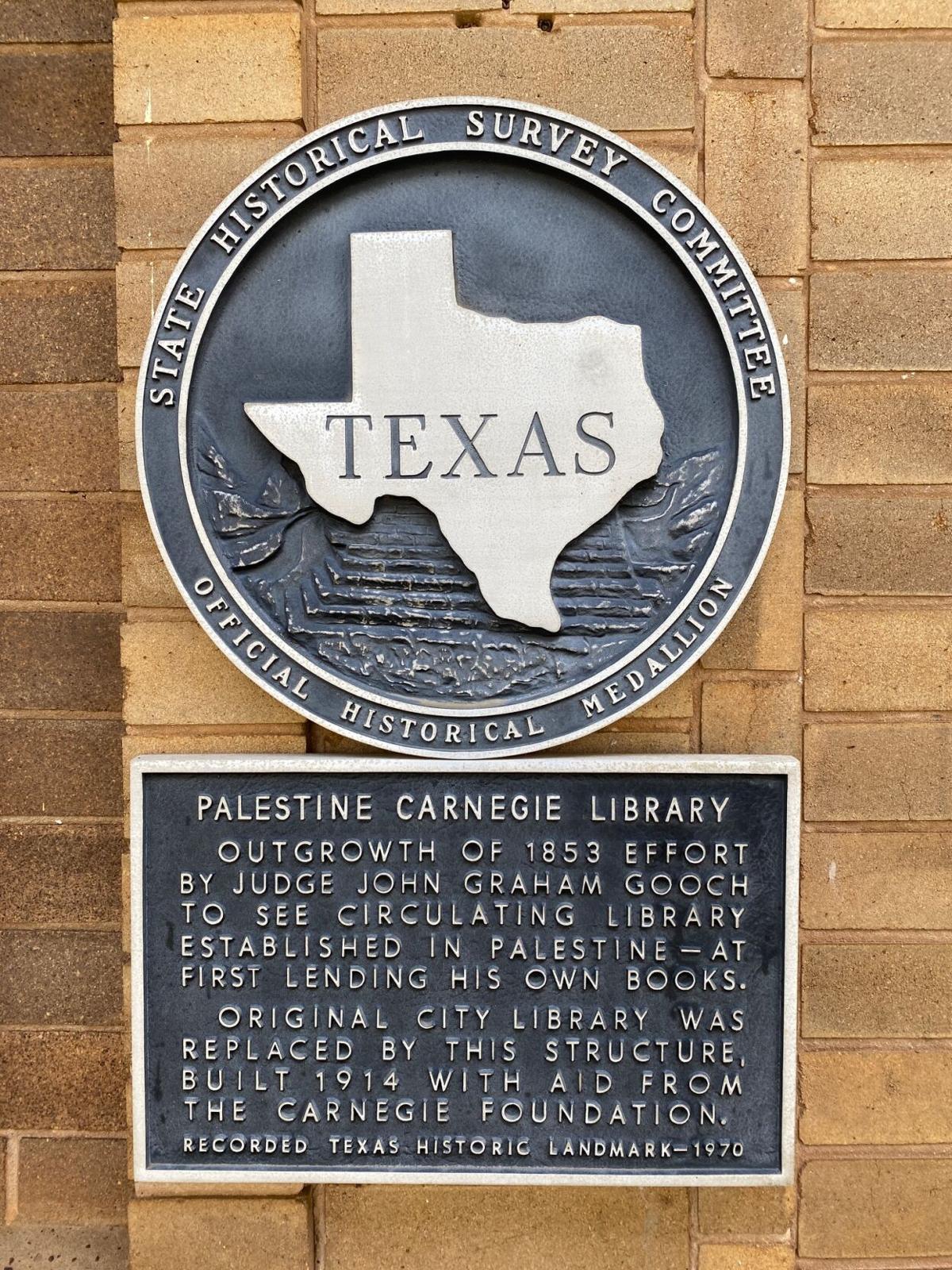 Palestine Carnegie Library marker