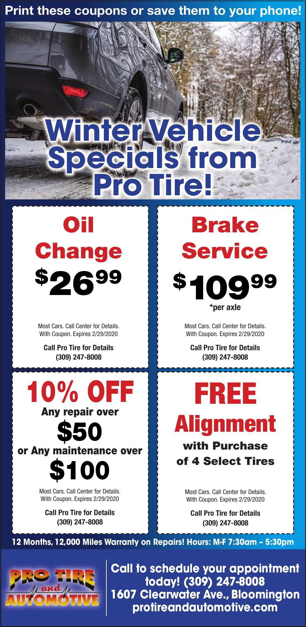 Winter Vehicle Specials Expiring Soon from Pro Tire!