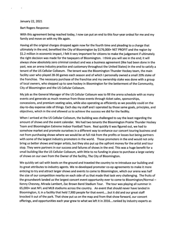 Bart Rogers' statement
