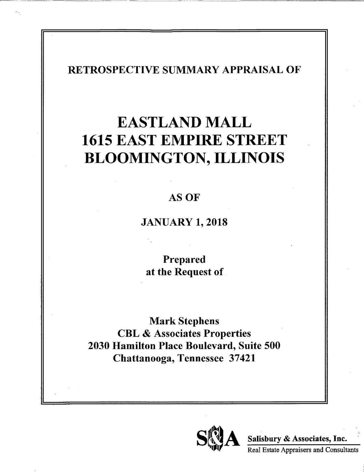 Ownership's appraisal of Eastland Mall
