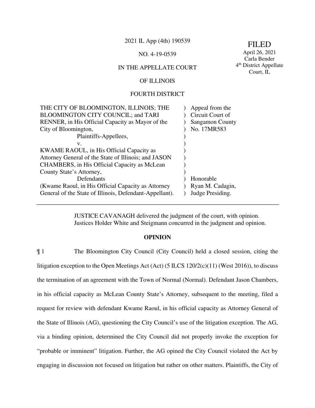 Fourth Appellate District Court ruling from April 26, 2021
