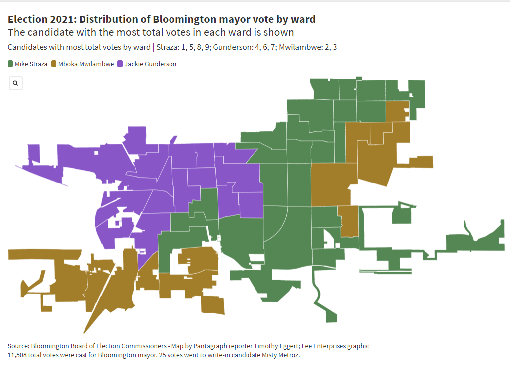 Election 2021: Distribution of Bloomington mayor vote by ward