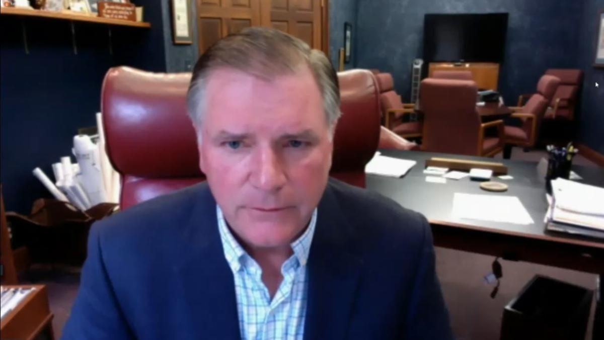 Illinois Senate Minority Leader Bill Brady, R-Bloomington, speaks during a video conference Monday in a call to remove the graduated income tax constitutional amendment from the November ballot.