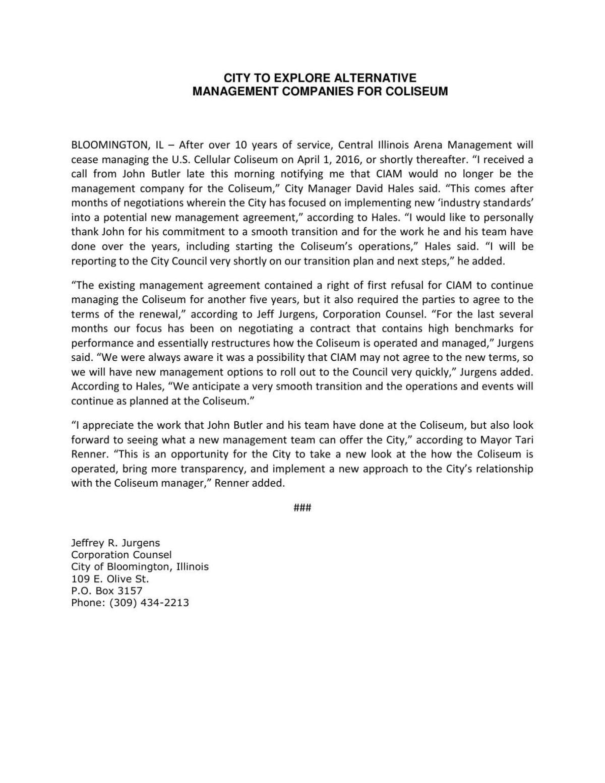 City of Bloomington statement