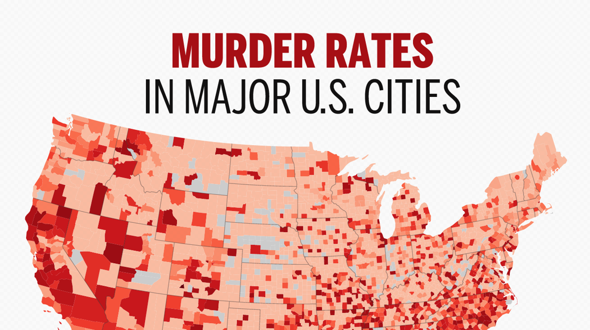 Major US Areas With The Highest Murder Rates National News - Us map of crime rate by counties 2016