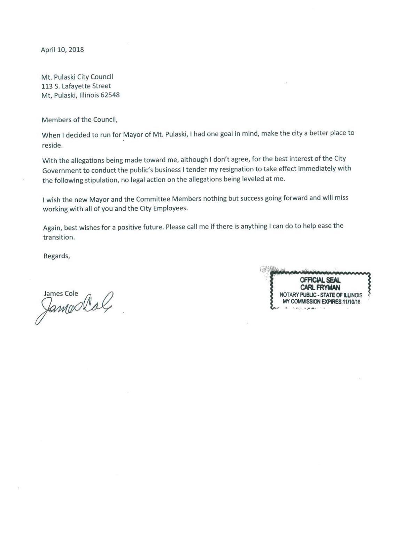 Cole Resignation Letter Pantagraph